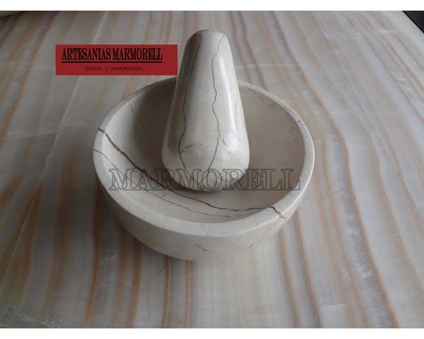Mortero de marmol beige y gris 7 cm de altura marmorell for Mortero de marmol